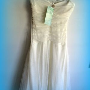 NEW Strapless White Sparkly Dress prom Wedding